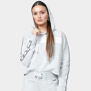 Betsey Johnson || X Tape Colorblocked Hoodie Gray